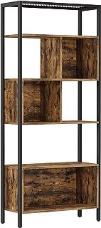 VASAGLE 5-Tier Bookshelf, Freestanding Bookcase, Cube Storage Rack, Room Divider with Steel Frame, for Trinkets, Framed Pi...