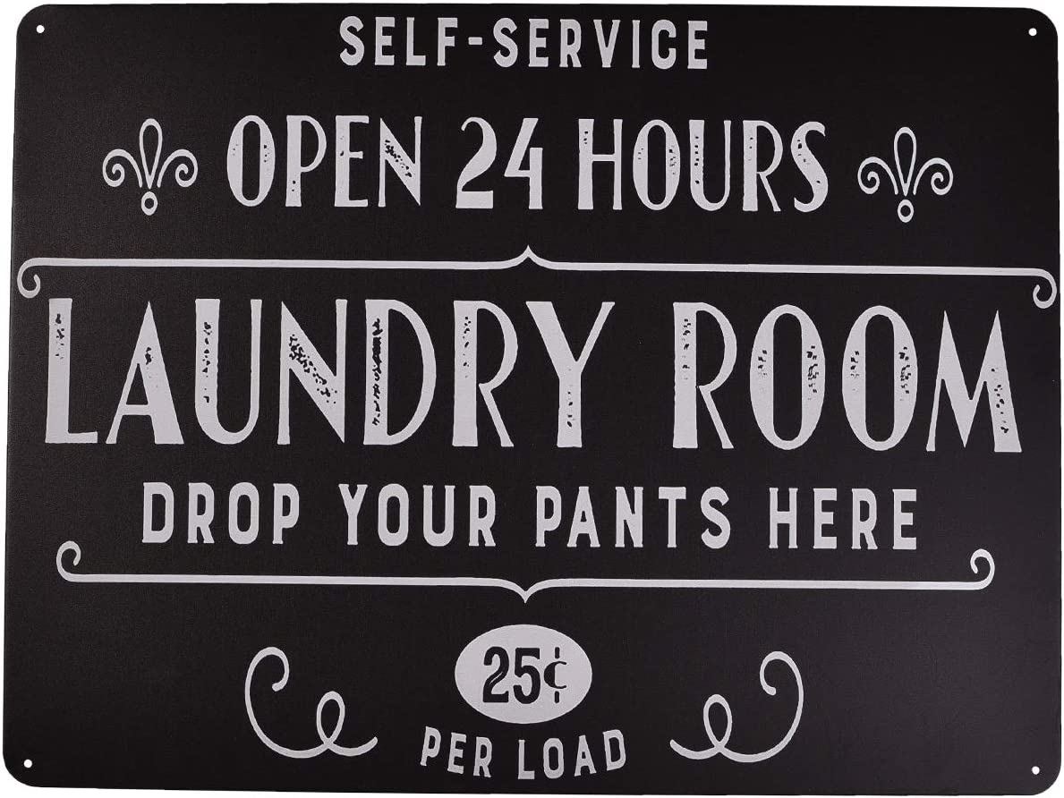 Metal Sign for Laundry Room, Home Decor for Wall and Door Sign (TP201819)