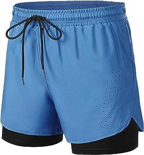 Wayleb Pantalones Cortos Deportivos Hombre Verano con Compresión Interna Pantalon Corto Deporte Hombre Transpirable Secado...