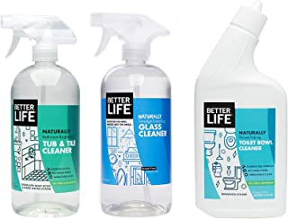 Better Life, Natural Bathroom Cleaning Kit -Toilet Bowl Cleaner, Glass Cleaner, Tub and Tile Cleaner