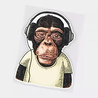 UYEDSR Pegatinas para coche, 2 unidades de gorila con auriculares para coche, adhesivo para coche, decoración del parabris...
