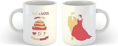 iKraft® Mr and Mrs Coffee Mugs Couples Mug Unique Wedding Bridal Shower Anniversary Gift Mug (Set of 02)