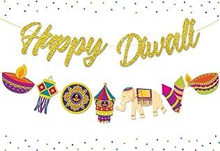 Diwali Decorations Happy Diwali Gold Glitter Banner Garland for Diwali Festival of Lights Party Hindu Party Decor Supplies