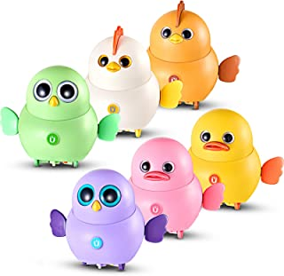 Skylety 6 Pieces Swinging Chicken Toy Walking Chick Duck Hawk Toys Magnetic Electronic Rocking Pet Toys Colorful Insterest...