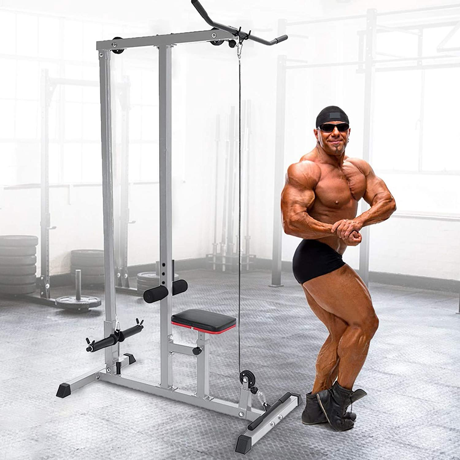 GOFULY Pull Down LAT Bar Exercise Olympic Machine for Home Low Bar Cable Fitness Training to Work The Arms /& Abs Back Shoulders