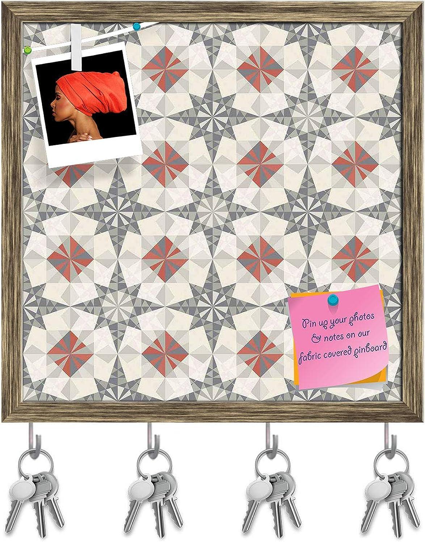 Artzfolio Pastel Geometry Key Holder Hooks   Notice Pin Board   Antique golden Frame 20 X 20Inch