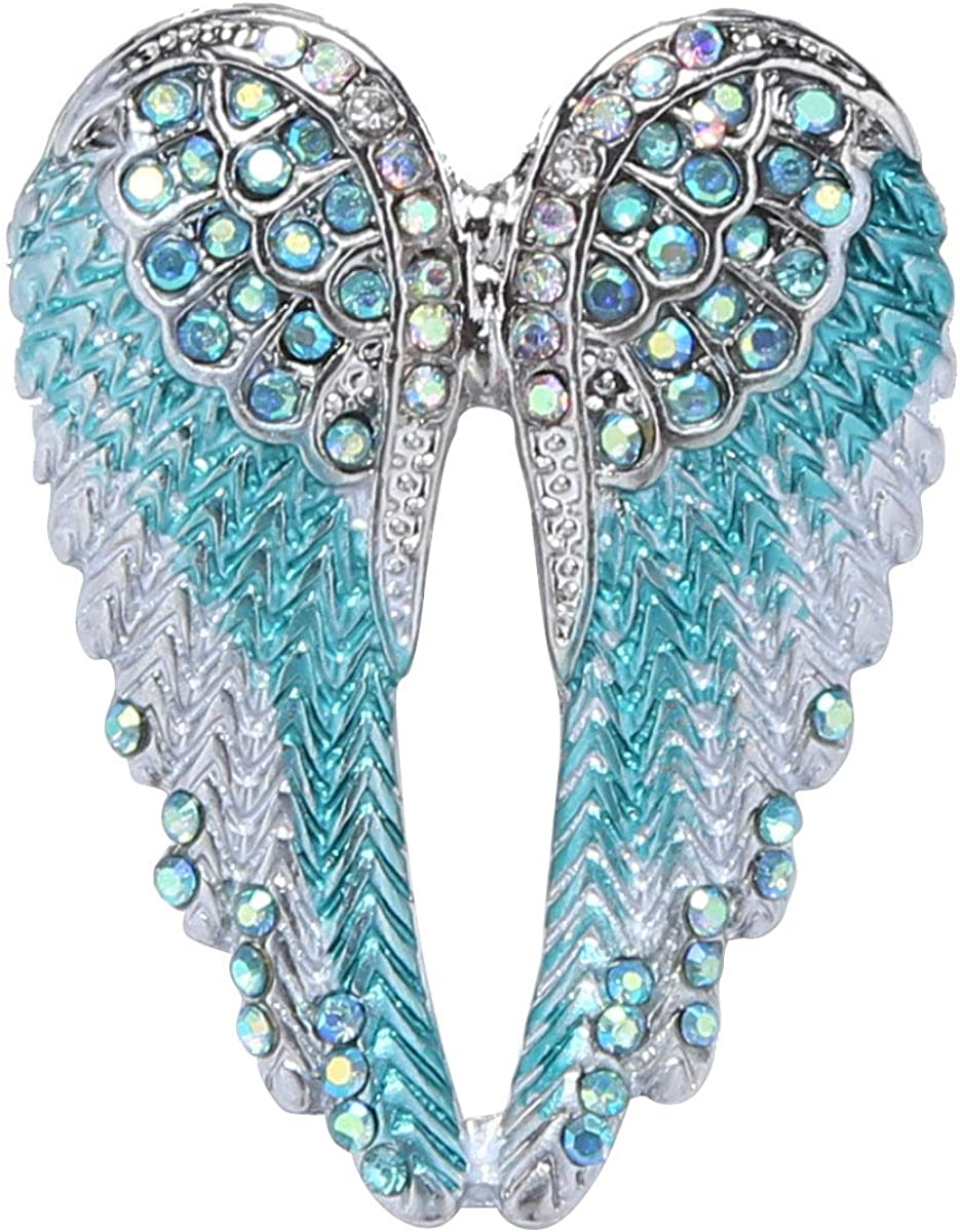 YiZYiF Sparkly Crystal Rhinestone Angel Wing Corsage Breastpin Banquet Party Cardigan Sweater Shawl Pin Brooch Collar