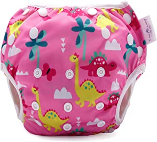 storeofbaby Swimming Diapers for Baby Girl Cute Dinosaur One Size Washable Cover