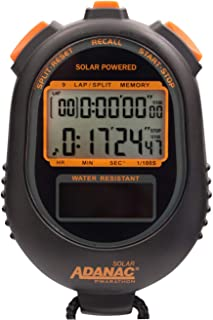 Marathon ST083020 9 Memory Solar Powered Stopwatch Timer with Jumbo Split Display. Colour-Black.