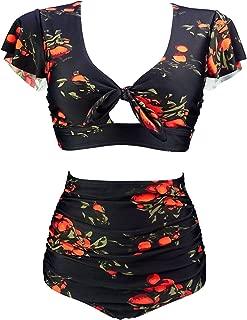 Women's Retro Floral High Waisted Shirred Bikini Set Tie Front Short Sleeve Top Ruffle Swimsuit(FBA)