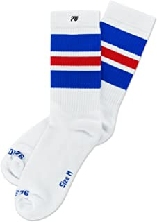 Los royal Reds on white Lo | Calcetines retro de rayas de alto medio | rayas blancas, azules & roja | calcetines unisex estilizados entubados