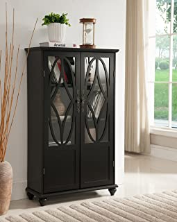 Kings Brand Furniture- Halswelle 2-Door Black Curio Bookcase Cabinet with Glass Doors