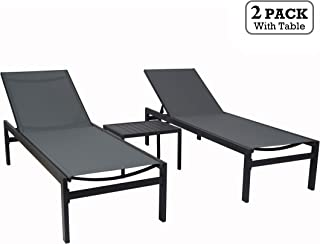Kozyard Modern Full Flat Alumium Patio Reclinging Adustable Chaise Lounge with Sunbathing Textilence for All Weather, 5 Adjustable Position, Very Light, Anti-Rusty (2 Pack Gray w/Table)