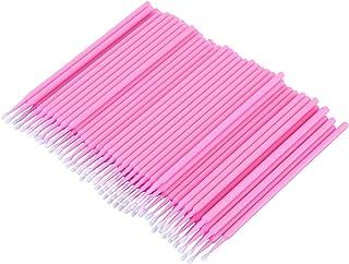 CUHAWUDBA 100個 歯科用マイクロブラシ 使い捨て材料 歯用アプリケーター ミディアムファイン(ピンク)