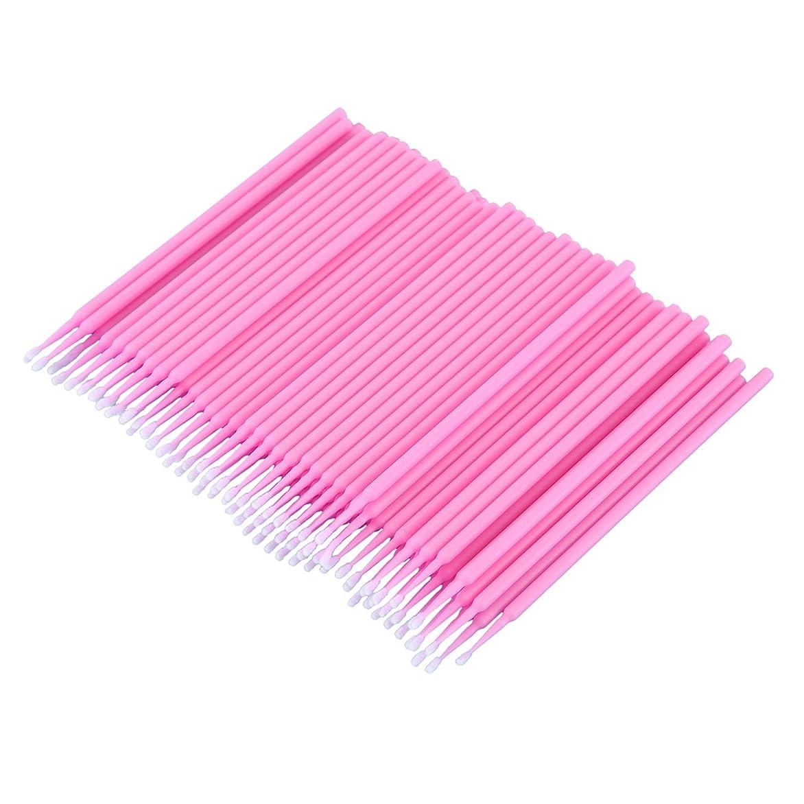 アクチュエータ誰もCUHAWUDBA 100個 歯科用マイクロブラシ 使い捨て材料 歯用アプリケーター ミディアムファイン(ピンク)