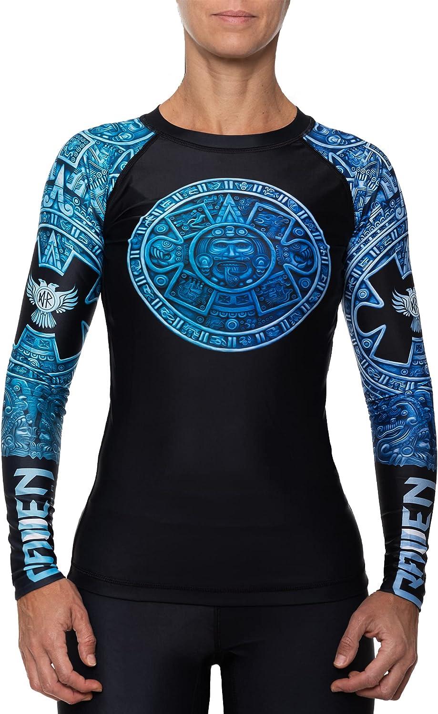 Raven Fightwear Women's Aztec Ranked MMA BJJ Rash Guard Blue