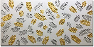 AMEI Art Paintings,24X48 Inch 3D Hand-Painted Textured Gold Silver Leaves Oil Paintings on Canvas Abstract Artwork Modern Home Decor Leaf Wall Art Wood Inside Framed Hanging Wall Decoration
