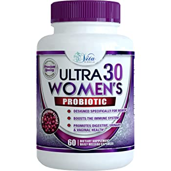 Probiotics for Women 30 Billion - 18 Strains with Cranberry Extract Best Probiotic Supplement for Digestive and Urinary Health Shelf Stable Delayed Release Veggie Capsule + Prebiotic Supplements