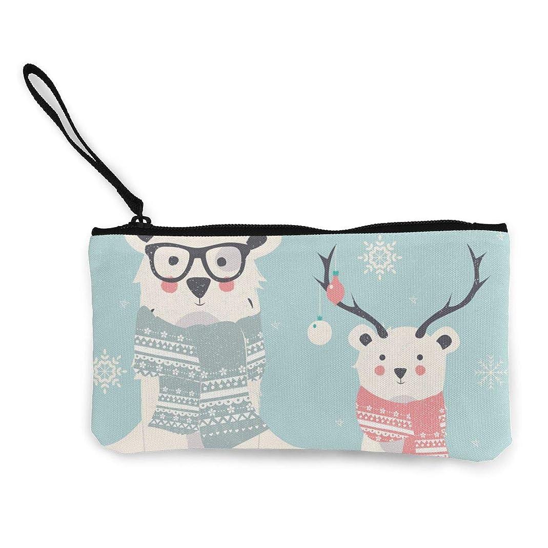 口述する震える石ErmiCo レディース 小銭入れ キャンバス財布 クリスマスクマ 小遣い財布 財布 鍵 小物 充電器 収納 長財布 ファスナー付き 22×12cm