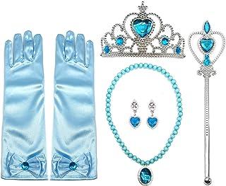 d06f45c4550407 ALEAD Girls Long Satin Princess Dress Up Diamonds Bows Gloves for Kids