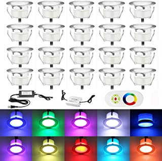 TONCHU Low Voltage LED Deck Lighting Kit Stainless Steel Waterproof Outdoor Step Lights for Landscape Garden Yard Patio Step Decoration Lamps (RGB, 20 pcs)
