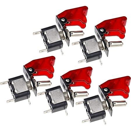 5 Stk Kfz Rot Led Kippschalter Schalter Wippschalter Ein Ausschalter 20a 12v 2 Polig Metall Baumarkt