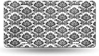 dsdsgog License Plate Damask Decor Collection,Antique Classical Damask Flowers Pattern Traditional Artwork Decorative Design,Black White 12x6 inches,Plate Frames Humor