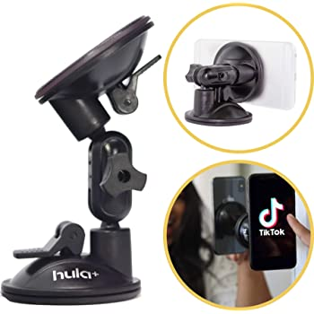 Hula+ Shower/Mirror Phone Holder/Mount/Stand. Reusable Non-Residue Mount for Bathroom/Kitchen/Wall/Air Travel. Compatible with All Phones, Great for TikTok/YouTube/Livestream/Make Up