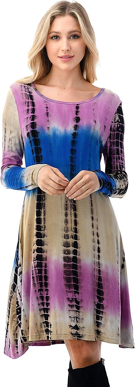 Nightie Women's Long Sleeve T Shirt Dresses Casual Swing Dress