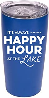 "Lake Tumbler - 20 oz Stainless Steel Insulated Tumbler with Clear Lid -""It's Always Happy Hour at the Lake"" (Blue/White)"