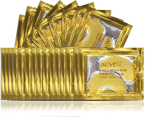 (25 Paires) Masque Pour Les Yeux CollagèNe 24K Gold Powder, Anti-âGe De Qualité SupéRieure, Anti-Rides, Hydratant Les...
