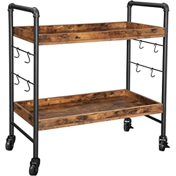 VASAGLE Bar Cart, Kitchen Serving Cart, Universal Casters with Brakes, Leveling Feet, Hooks, Steel Structure, 33.9 x 15.7 x 33.5 Inches, Rustic Brown and Black ULRC85BX