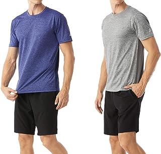 TEXFIT Men's 2-Pack Panelled Active T-Shirts, Mesh Back, Quick Dry Stretch Fabric (2pcs Set)