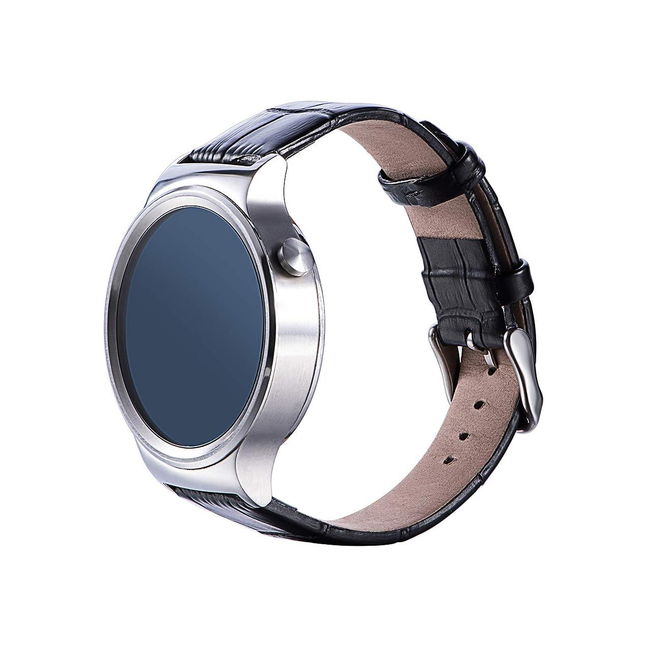 ナサニエル区チラチラする改修するHuawei Honor S1/Huawei Watch/Fit /Huawei B5スマートウォッチ 交換用バンド Comtax 18mm 天然皮革製腕時計ストラップ/バンド 交換ベルト (ブラック)