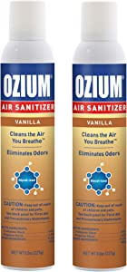 Ozium A807035 8 Oz. Air Sanitizer & Odor Eliminator for Homes, Cars, Offices and More, Vanilla Scent - 2 Pack