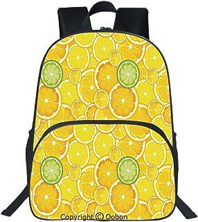 Oobon Kids Toddler School Waterproof 3D Cartoon Backpack, Lemon Orange Lime Citrus Round Cut Circles Big and Small Pattern, Fits 14 Inch Laptop