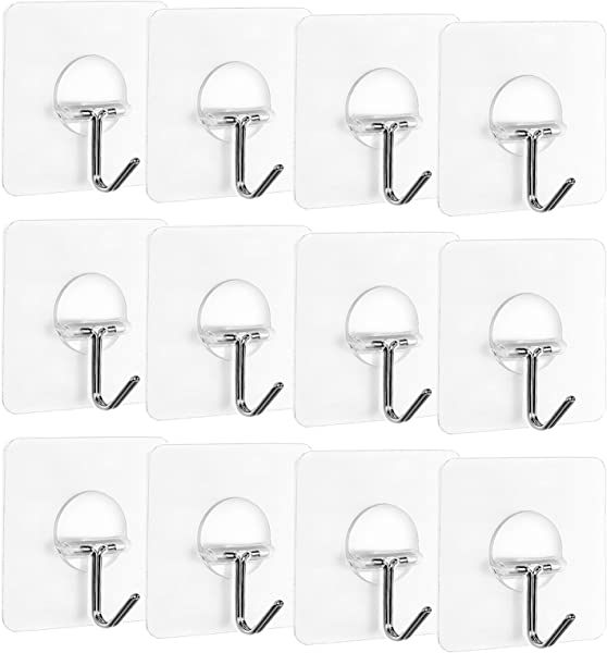 Korlon 22lb 10kg Max Heavy Duty Adhesive Wall Hooks Removable Transparent Sticky Wall Hangers Waterproof Reusable Wall Hook For Bathroom Kitchen Set Of 12