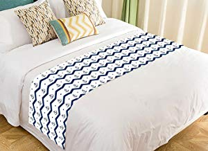 Custom Chervon Navy Anchors Blue and White Bed Runner Bedding Scarf Size 20x95 inches