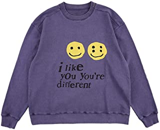 I Like You You're Different Sweatshirt Letter Print Hip Hop Crew Neck Hoodie