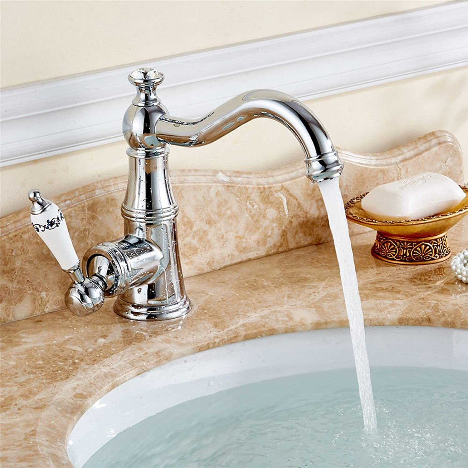 Lpophy Bathroom Sink Mixer Taps Faucet Bath Waterfall Cold and Hot Water Tap for Washroom Bathroom and Kitchen Copper Hot and Cold Water Can Be redated B