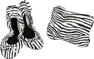 Sidekicks Zebra Print Foldable Ballet Flat Shoes