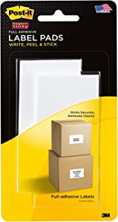 Post-it Super Sticky Label Pads 2900-RBL, 2 in x 4 in, Removable, White, 2 Pads/Pack, 25 Labels/Pad (2900-RBL)