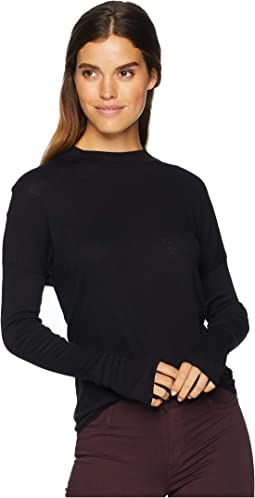 Supima Cotton Slub Long Sleeve Mock Neck Top with Thumbholes