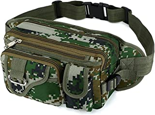 SUNSEATON Camo Bum Bag, 4 Separate Compartments with Zipper, Large Capacity Hip Bum Bag for Hiking Cycling Travel Holidays Festivals Outdoor Sport