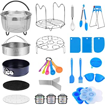 MONYES 21 Pcs Pressure Cooker Accessories Compatible with 5,6,8 Qt Instant Pot, Steamer Basket Kitchen Tong Egg Beater Springform Pan Egg Steamer Rack