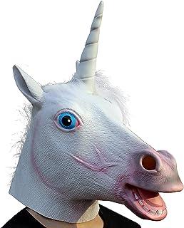 CreepyParty Festa in Costume di Halloween Maschera in Lattice a Testa di Animale Unicorno Maschera di Carnevale