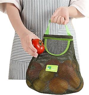 XINSTAR Sac de rangement mural à suspendre pour fruits et légumes, durable, multifonction, en maille filet pour fruits, po...