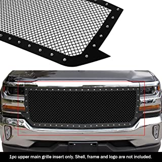 APS Compatible with 2016-2018 Chevy Silverado 1500 Carbon Steel Black 2.5 mm Wire Rivets Mesh Grille Insert