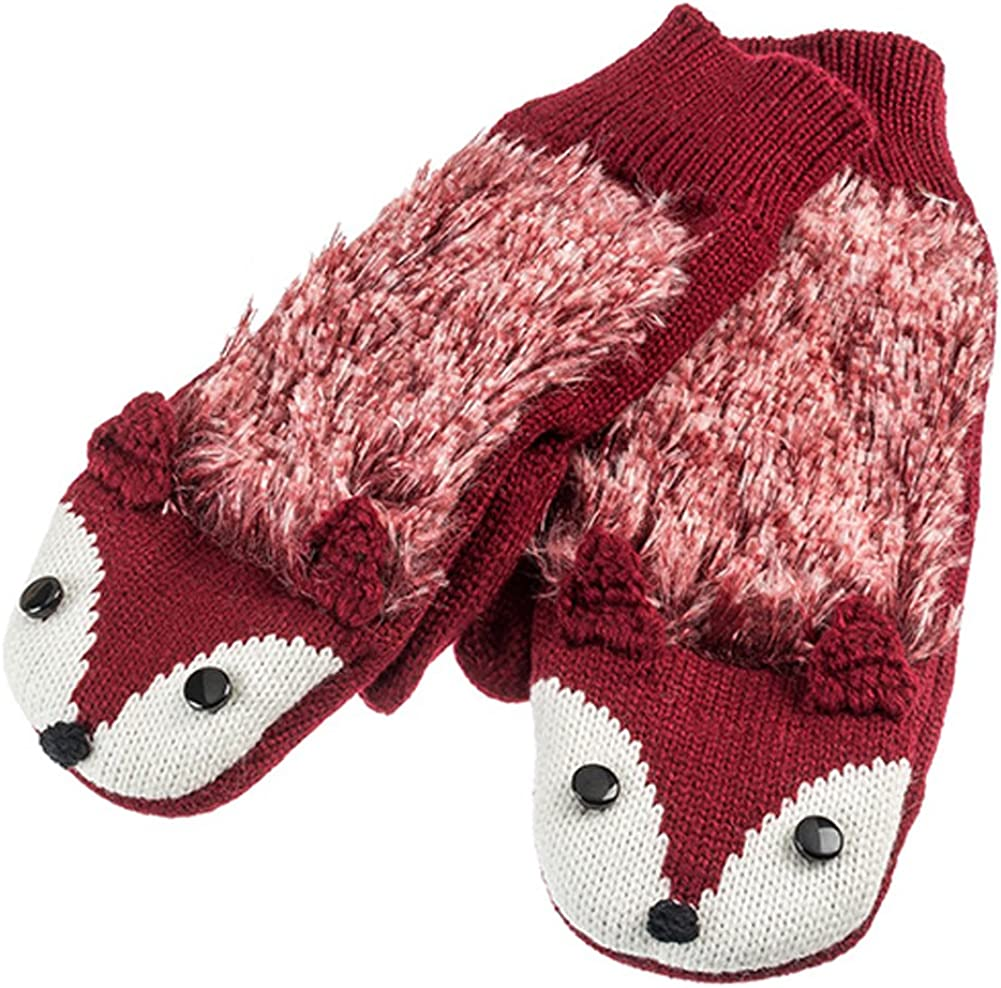 Red Fox Warm and Soft Knit Critter Mittens
