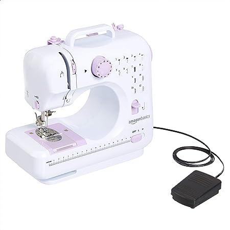 Amazon Basics – Máquina de coser doméstica portátil de 12puntadas, tamaño mediano y 2velocidades